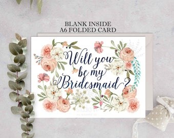 Bridesmaid Card set, Will You Be My Bridesmaid, Bridesmaid card,Wedding Card,Floral Card, Bridal Party, floral bridesmaid card