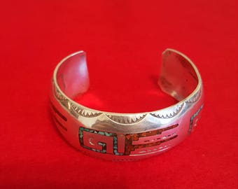 HMIJ navajo sterling silver turquoise and coral bracelet