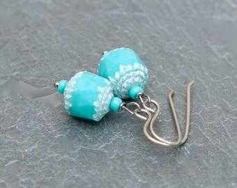 blue earrings. pale blue earrings. blue glass earrings. titanium earrings. blue and white earrings. beach earrings. boho earrings.