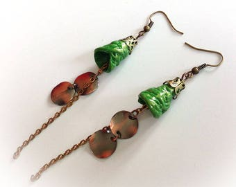 Earrings long green polymer clay, copper metal sequins, chain