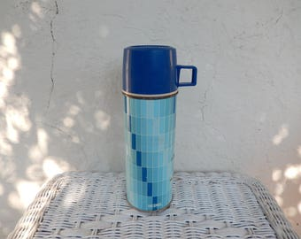 Vintage Blue Thermos, King Seeley Thermos, Metal, Hot Cold Beverage Container, Coffee Tea Can, Camping Gear, Retro Picnic, RascalsRarities