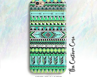 Tribal Phone Case, Mint Aztec Phone Case, GeometricPhone Case, Iphone 8 case, Iphone X case, Iphone 8 plus case, note 8 case