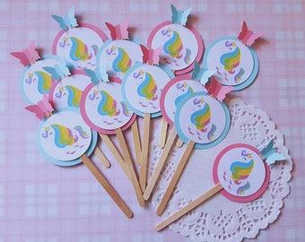 12x unicorn party decorations - unicorn cupcake toppers - unicorn cake picks - princess birthday party
