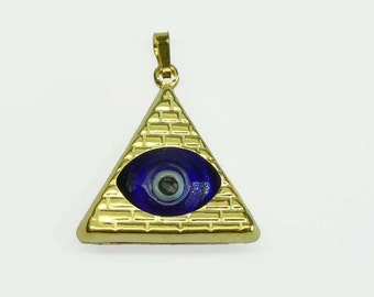 Rare Amazing Lucky 14Kt Gold Art and Glass All Seeing Evil Eye 3D Pyramid Pendant Charm