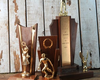 Vintage Mid-Century Modern 1962 Pony League All Stars, baseball Statue on Wood with olympics type wreath vintage trophy collection