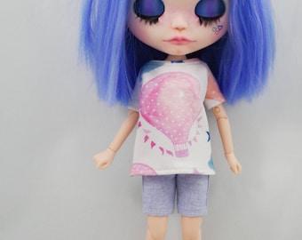 ElDollRado - spring/summer balloon set for Blythe, Pure Neemo, Azone, Dal, Obitsu dolls (t-shirt and shorts)