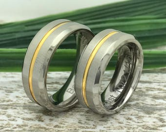 8mm Personalized Titanium Ring, His and Hers Two Tone Titanium  Wedding Band,  Anniversary Band, Promise Ring