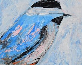 Chickadee Bird Painting Print. Blue Bird Painting. Wildlife Animal Print. Songbird Prints. 55
