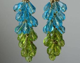 Earrings handmade blue Green cluster dangles