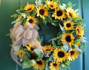 Sunflower Wreath, Sunflower Door Decor