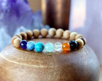 Healing Crystal Chakra Bracelet, Gemstone 7 Chakra Bracelet, Chakra Jewelry, Natural Crystal Bracelet Gemstone Bracelet,