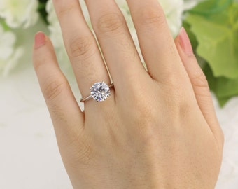 3ct Classic Round Solitaire engagement ring , 3ct Solitaire Ring, 4 Prong Round Wedding Ring, Bridal Ring, Promise Ring, Sterling Silver