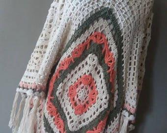 Crochet poncho, crochet poncho, Ibiza poncho, poncho cotton, bohemian poncho, Christmas gift, Shabby chic poncho, Ibiza clothing, poncho frills
