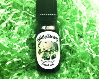 Mint Choc beard oil, beard and skin hydration and conditioning tonic oil, beard grooming and maintenance products, BaldyBeardy beard care UK