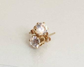 Stud earrings, vintage, CZ Solid 14k