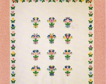 FRENCH BOUQUET Floral Quilt Pattern Twin Size Quilt Flower Quilt Appliqued Quilt French Quilt Design Quilt Making 1930s Quilt Pattern