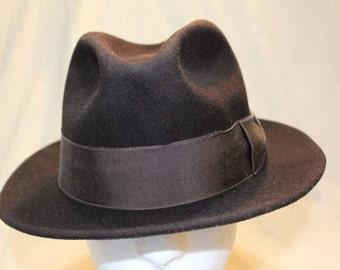 Vintage  Custom Made Bee Hats  Dark Brown Fur Felt  Men's Fedora Hat Size 7 3/8  58.7cm