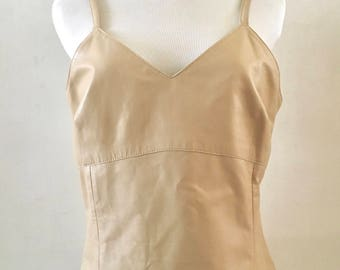1990's Creamy White Leather Tank Top // Fitted Vintage Top by Margaret Godfrey // Summer 90s Crop Top // Sleeveless Tank in a Size Medium