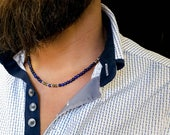 Lapis Lazuli necklace. Mens gemstones necklace. Lapis Lazuli necklace for man. Mens jewelry. Beaded necklace for man. Gifts for him