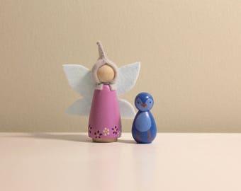 Fairy and Blue Bird Peg Dolls, Waldorf Wood Toy, Peg People