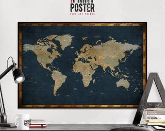 world map poster, large world map, travel map, world map print, world map wall art, map of the world, iPrintPoster