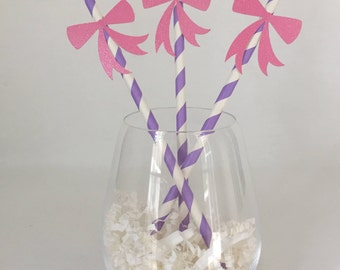 12 Bow Party Straws - Striped - Baby Shower - Bridal Shower - Birthday Party - Girl - Princess Party - Tea Party