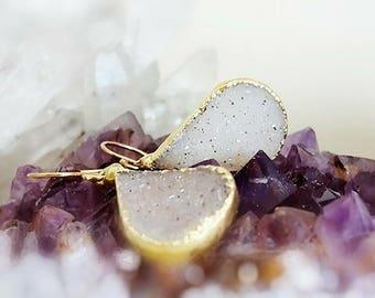 Gold Druzy  Earrings, Natural Druzy Chalcedony Pear Shaped Gemstone Drops Earrings, Large Gold Electeoplated Gemstone Drops, Modern Earrings