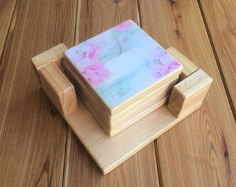 Antique roses design pine coasters - Gift for her - 4, 6 or 8 x decoupaged wooden coasters with or without holder
