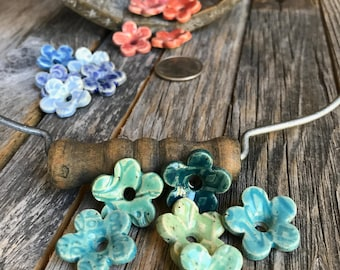 Set of 5 Ceramic Flower Beads | 5 Stoneware flower beads | Pottery Flower charms | Craft Accents | Pottery Beads| Ceramic Jewelry Supply