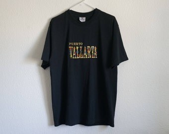 90's T-shirt, Puerto Vallarta Mexico, Vapor Wave Shirt, Embroidered Shirt, Beach Shirt, Soft Grunge, Tropical, Aesthetic, Cyber, Tumblr, L