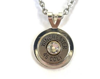 45 Caliber Nickle Plated Bullet Pendant on Stainless Steel Chain, Women's jewelry, Bullet jewelry,  Women's gifts, Handmade jewelry