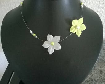 Bridal necklace wedding bridesmaid silk flower Pearl lime green / white or ivory and Crystal AB evening child woman