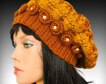 Crochet hat pattern hat with flower crochet beanie pattern crochet beanie hat tutorial beret hat patterns women hat patterns slouch pattern
