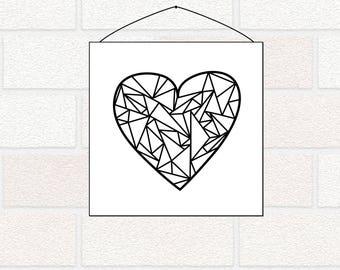 Valentine printable, Geometric Heart Printable, Minimimalist Decor, Monochrome Heart, Nursery Heart Art, Black and White, Valentine's Day