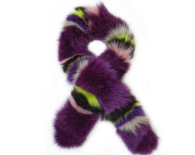 """""""Trenbi"""" Fox fur scarf - Purple Scarf F740"""