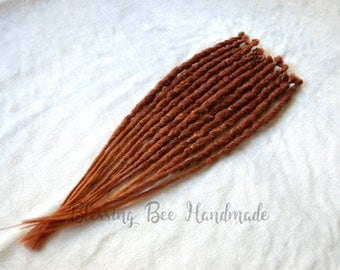Auburn and pumpkin faux ginger dreadlocks, red single ended synthetic dreads, natural style crocheted dreads, se dreads, red ombré dreads