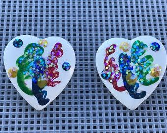 Vintage Heart Earrings // Abstract Heart Glitter Earrings // White Enamel Green Blue Red Yellow // 80s Earrings // 80s Heart Earrings
