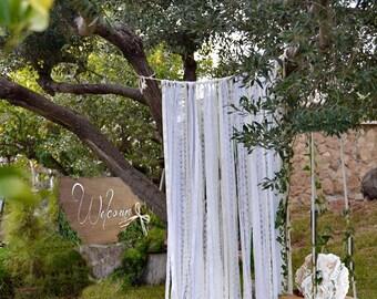 Wedding Backdrop Curtain. Ivory White Lace Ribbon Curtain. Wedding Backdrop Photobooth. Shabby Chic Lace Ribbon Garland. Backdrop Chuppah.