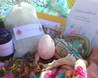 40% OFF! The Whole Package: Energized Yoni Egg, Yoni Steaming Herbs, Breast Massage Oil, and Smudge Kit