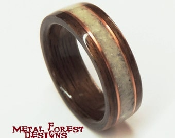 Bentwood Ring, Walnut and Deer Antler with Copper,Wooden Wedding Band, Wood Ring, Anniversary