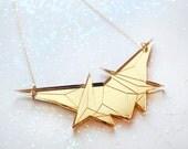 Gold Mirror Geometric Necklace, Laser Cut Acrylic, Futuristic Jewelry, Minimalist Jewelry