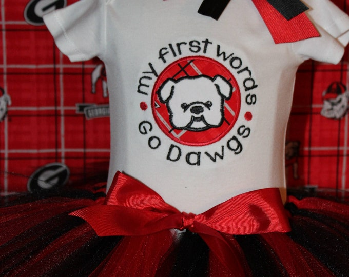 Baby girl Georgia Bulldogs outfit, Red and Black tutu,Georgia headband,University of Georgia baby girl bodysuit,Dawgs,New baby gift