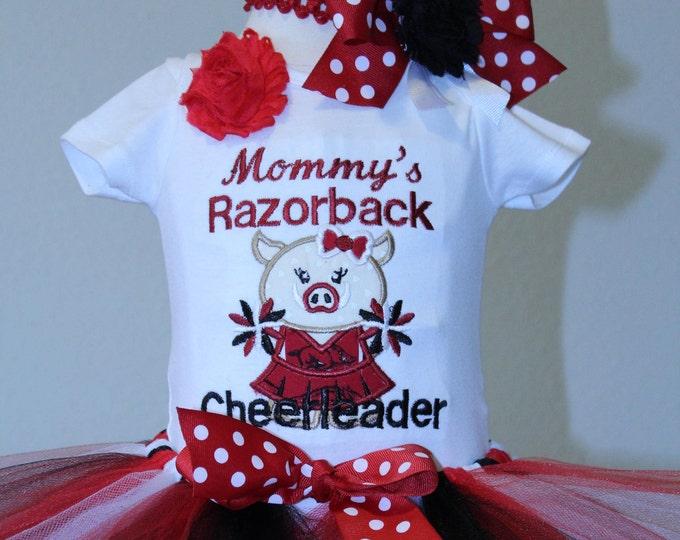 Arkansas Razorbacks, Arkansas,Red and Black tutu,girls Razorback outfit,Baby girl Razorback cheerleader outfit, Razorback bodysuit or shirt