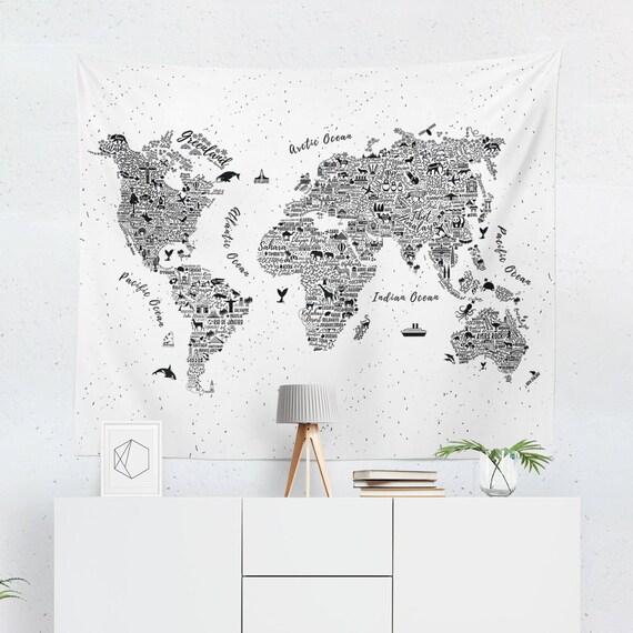 Cool world map art decor