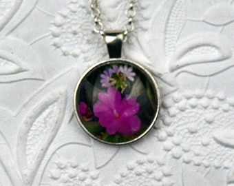 Photo Necklace with Silver Finish Depicting Pink Wildflowers Photo Jewelry Flower Necklace