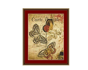 Butterflies on Vintage Postcard Counted Cross Stitch Pattern / Chart, Instant Digital Download  (AP075)