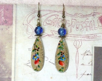 Floral Earrings, Flower Earrings, Tin Earrings, Romantic Gift, Vintage Jewellery, Pewter Earrings, Art Deco, Upcycled, Mothers Day Gift