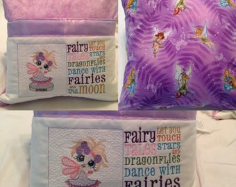 Pocket pillow fairy reading pillow lavender  child reading pillow fairy fabric fairy tale quote zip close lavender satin November embroidery