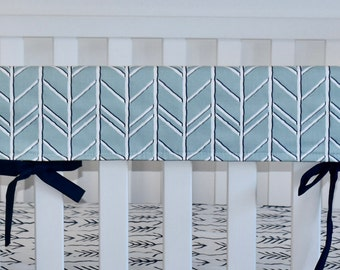 SHIPS TOMORROW - herringbone rail guard, spa blue rail guard, boy nursery rail guard, teething guard, woodland nursery
