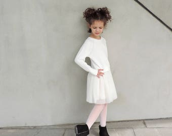 GirlTutu Dress, Girl White Tulle Dress, Modern Tulle Dress, White Dress Toddler, Long Sleeve Tutu Dress, Birthday Girl Dress - by PetitWild